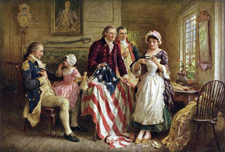Painting of Betsy Ross sewing the flag