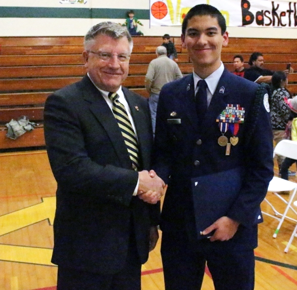 Cadet Cameron Castillo, winner of the 2016 outstanding high school JROTC cadet competition, California Society Sons of the American Revolution
